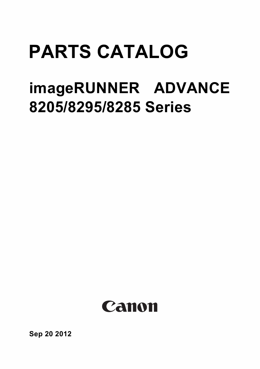 Canon imageRUNNER-ADVANCE-iR 8205 8295 8285Pro Service Manual